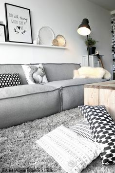 Quadros, sofá cinza, tapete cinza peludo