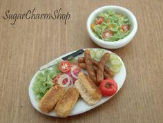 hot dog preparation and salad, sugar charm shop