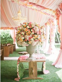 floral decor from southern weddings magazine Wedding/bridal shower inspiration. Far too girly for a wedding.