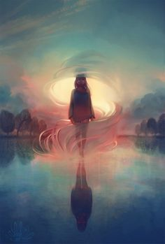It's beautiful, mysterious, and scary all at once. I love the flow of light coming from within the swirl of wind and water. It's the kind of picture that draws me in. I wonder what the story was behind the image - who is she? what's happening? where is she going? Really great.