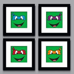 Teenage Mutant Ninja Turtle Decor wall art Kids Room Wall art Nursery Art Nursery Decor. 8x8 or 10x10. Leonardo, Donatello, Raphael & Michelangelo. $22