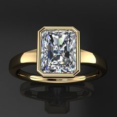 Over Yellow Gold Ct Near White Radiant Moissanite Ring 925 Sterling Silver Crystal Growth, Radiant Cut, Diamond Alternatives, Moissanite Rings, Or Rose, Rose Gold, Halo Diamond, Diamond Rings, Ring Designs
