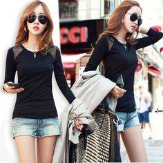 Korea Women Long Sleeve O-Neck Splicing Sheer Casual Black T-Shirt Top Tee