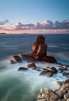 PORTUGAL Calm Sky Clouds Rock Formation ocean seascape