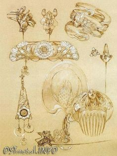 Alphonse Mucha, jewelry designer for Georges Fouquet Alphonse Mucha, Bijoux Art Nouveau, Art Nouveau Jewelry, Jewellery Sketches, Jewelry Drawing, Amazing Drawings, Art Drawings, Nouveau Tattoo, Jugendstil Design