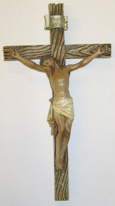 Catholic 8 Inch Stone Resin Jesus Christ on INRI Cross Wall Crucifix Home Chapel Decoration