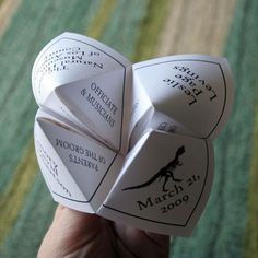 My childhood has resurfaced as a a wedding program and it's amazing... Cootie catcher wedding program