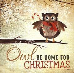 Owl be Home for Christmas Art Print by Marla Rae at Urban Loft Art