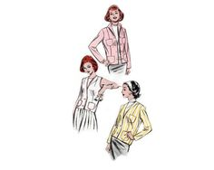 "Blazers in three styles - ""Chanel"" style, Cardigan neck Blazer, & Sleeveless Blazer - 1950's Complete Original Butterick Pattern #8578"