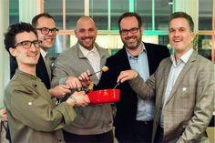Unsere Herren des Abends: Raphael Lüthy, Christian Krahnstöver, Peter Egli, Stephan Lendi und Raphael Neuburger Fondue, Vegans, Sustainability