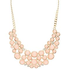 Charlotte Russe Colored Faceted Stone Bib Necklace ($6) ❤ liked on Polyvore featuring jewelry, necklaces, peach, charlotte russe necklaces, chunky necklaces, charlotte russe jewelry, chunk jewelry and rhinestone jewelry