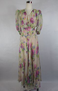 1930's Floral Chiffon Gown by vintagebluemoon on Etsy