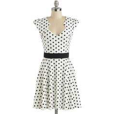 ModCloth Mid-length Cap Sleeves A-line The Story of Citrus Dress ($50) ❤ liked on Polyvore featuring dresses, modcloth, vestidos, white, apparel, fashion dress, white a line dress, mid length dresses, dot dress and a line dress