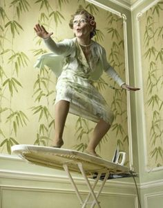 'SURFING' GRANNY - GET DOWN FROM THE IRONING BOARD!