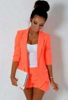 Collar Blazer with Shorts Peach Orange, Girl Fashion, Blazer, Pretty, Jackets, Women, Girls, Outfits, Accessories