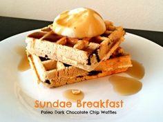 Sundae Breakfast - #Paleo, Dark Chocolate Chip Waffles #sugarfree #glutenfree