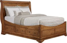 Versailles Euro Storage Bed Queen | Function and elegance combine in this bed | Shown in Maple, Mystic Stain, Hand-Burnishing, Six Drawers