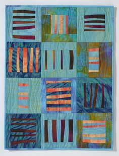 """Louvered Windows, 21"""" x 28"""", by Barbara Ramsey (California). Quilted wall hanging made of hand dyed linen and cotton."""