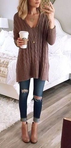 #winter #fashion //  Brown V-neck Knit // Ripped Skinny Jeans // Camel Booties