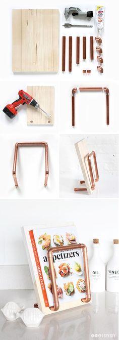 STEPS | Copper Pipe Cookbook Stand | I SPY DIY
