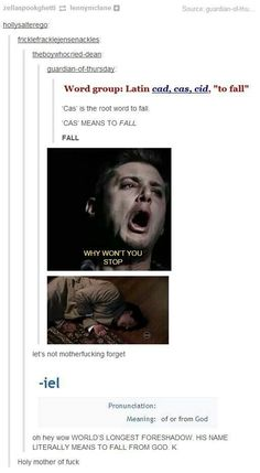 "castiel=to fall from god.....sneaky...very sneaky  Though I do wonder if sometimes the writers just stumble into some things without realizing it and be like ""Oh... Yeah, that's what we meant all along!  ... << >>"" -.-"
