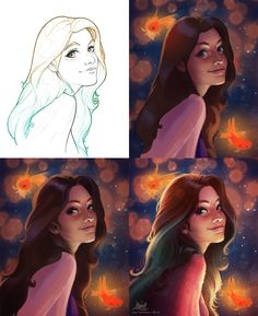 Digital painting process tutorial // ArtStation - Brazilian Web Divas, Amanda…