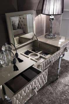 Adding style and glamour to any bedroom interior, the Luxury Nubuck leather dressing table at Juliette's Interiors. A large collection of luxurious designer Italian furniture.