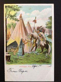 Native American Indians w Baby Sheboygan Wi Vintage 1907 Franz Zorn Postcard | eBay