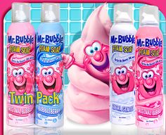 Mr. Bubble Foam Soaps are so much fun! Use the floating foam to create fun shapes or spray directly onto the body. Safe and gentle, Mr. Bubble Foam Soap washes thoroughly and leaves skin soft and smooth.