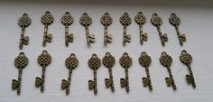 Set of 18 Large Heart Key Pendant Charms Antique by TheAcornShop