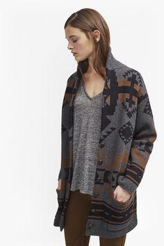 Lady wool blend plain black waterfall short cardigan long sleeves