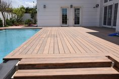 Accoya® has been used for a swimming pool decking area and under water deck. Sustainable Architecture, Architecture Design, Decking Area, Pool Decks, Outdoor Living, Outdoor Decor, Pool Houses, Cottage Homes, Swimming Pools