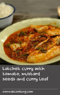 Latchet curry with tomato, mustard seeds and curry leaf Custard Ingredients, Custard Recipes, Fish Recipes, Indian Food Recipes, Ethnic Recipes, Curry Leaves, Just Cooking, Mustard Seed, Fish And Seafood