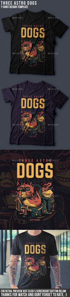 Three Astro Dogs #T-Shirt #Design - Clean Designs