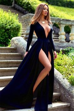 Sexy Long Sleeve Deep V-Neck 2016 Prom Dress Slit Party Gowns_High Quality Wedding Dresses, Quinceanera Dresses