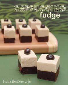 Cappuccino Fudge: 2 c. dark chocolate chips 1 can dark chocolate frosting 2 c. white chocolate chips 1 can white canned frosting 1 Tbsp. Candy Recipes, Sweet Recipes, Dessert Recipes, Dessert Ideas, Cookie Recipes, Cappuccino Fudge Recipe, Coffee Fudge Recipes, Holiday Treats, Holiday Recipes