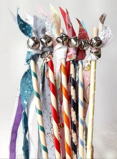 12 Fairy Wand Birthday Party Favors, Princess Birthday Fabric Streamers, Woodland Party Decor, Wedding Table Decor on Etsy, $11.00