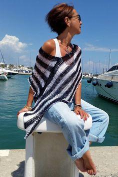 Blue white stripes top blue striped poncho women's
