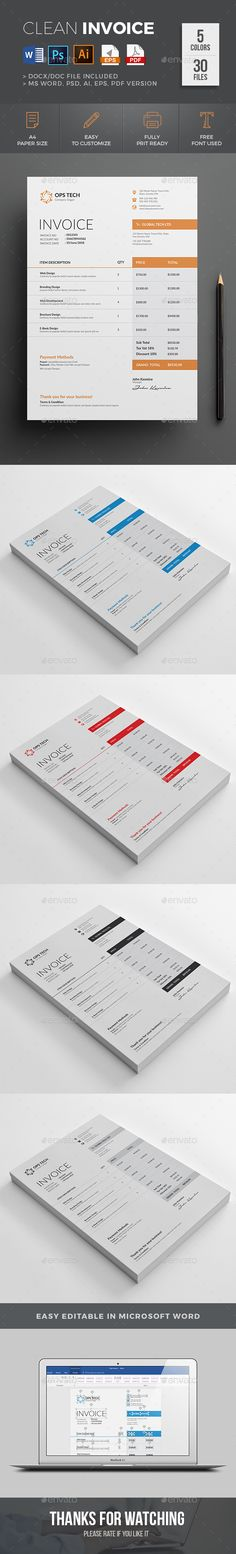 Invoice by design-park This professional minimal Invoice template - product invoice template