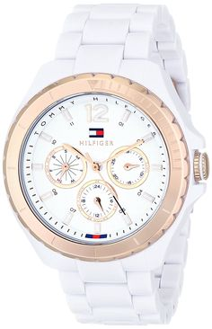 Tommy Hilfiger Women's 1781429 White and Rose Gold-Tone Watch *** You can find more details by visiting the image link. Tommy Hilfiger Watches, Tommy Hilfiger Women, Brand Name Watches, Sport Watches, Watch Sale, Link Bracelets, Chronograph, Rolex Watches, Quartz