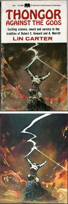 FRANK FRAZETTA - Thongor Against the Gods by Lin Carter - 1967 Paperback Library - cover by isfdb - print by frankfrazetta.net