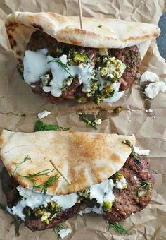 grilled lamb pitas + pistachio mint pesto
