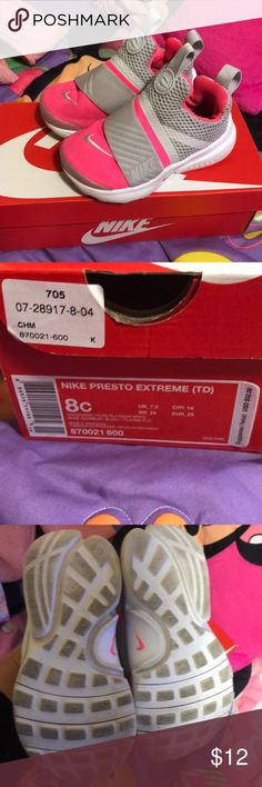 Toddler Nike Presto size 8 Worn, good condition. Hot pink, white and grey.  Pretty clean with a few marks. Could come cleaner with a little love or  even a ...