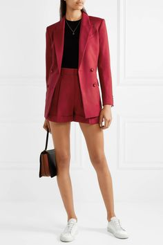Claret wool-piqué Concealed hook and zip fastening at front wool; Dress Shorts Outfit, Shorts Outfits Women, Blazer And Shorts, Short Outfits, Classy Outfits, Casual Outfits, Cute Outfits, Fashion Outfits, Mode Kawaii