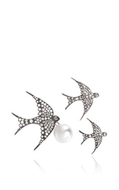 Large Swallow Brooch And Floating Pearl by Sidney Garber