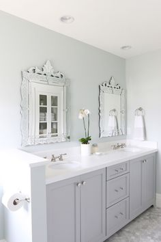 "Sherwin Williams Sea Salt - soft, soothing gray green wall color, may be the only ""not"" Benjamin Moore paint color I choose."