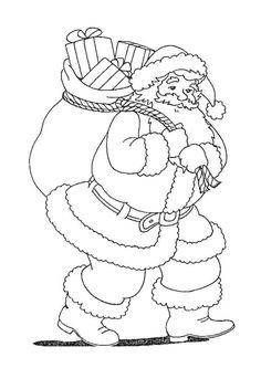 Coloriage du père noël avec sac plein de Cadeaux - Hugolescargot.com