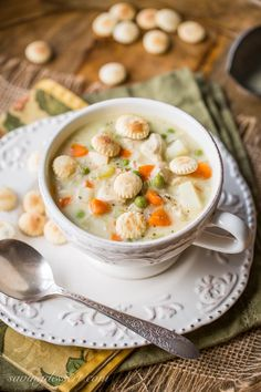 A creamy chicken soup with potatoes, peas, onion, celery and carrots. All the flavors of a homey chicken pot pie without the crust!