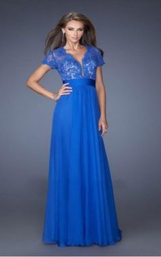 Find the latest trends in Royal Blue A-line V-neck Floor-length Dress-favodresses.com with a large selection of unique formal and evening bridesmaid dresses at halodresses.