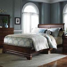 Chateau Royale - Antique Distressed Brown Queen Low Profile Sleigh Bed by Kincaid Furniture